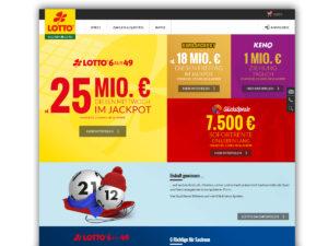Die Startseite von sachsenlotto.de