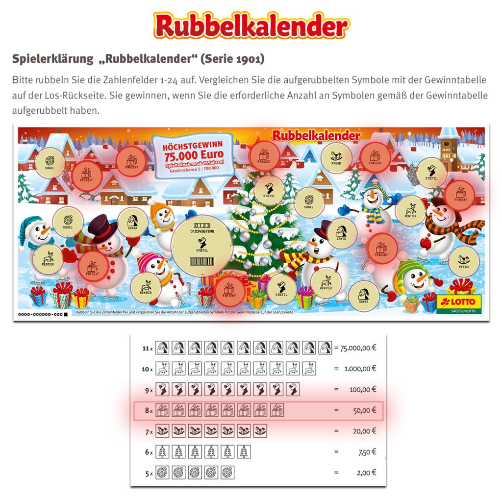 Rubbelkalender Sachsenlotto