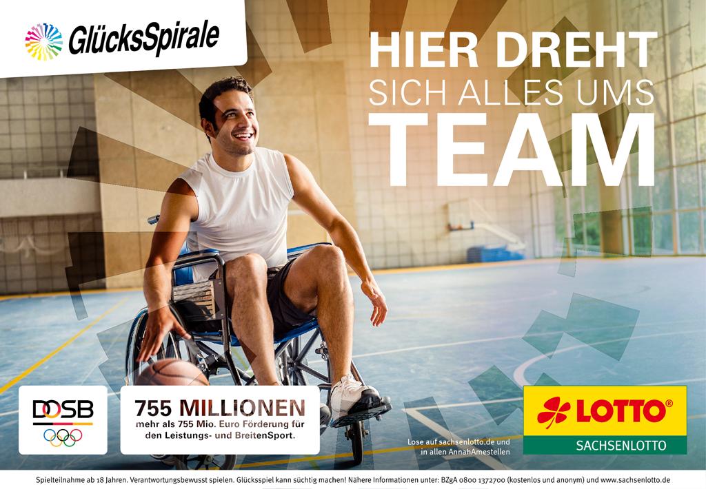 Rollstuhlbasketball und Gluecksspirale - hier dreht sich alles ums Team.